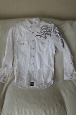 Rock 47 by Wrangler Long Sleeve Button Down Studded Shirt Size Small White