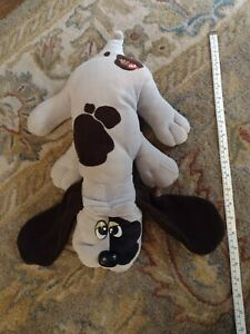 "VINTAGE 1985 POUND PUPPY TONKA LARGE Gray w/ Brown Spots 18"" Stuffed Plush Dog"