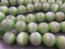 Spring Green Cat's Eye Faceted Round 10mm Beads 41pcs