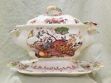 Complete Red Fruit Basket Large Soup Tureen Set, Masons Ironstone China England