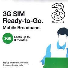 Three Mobile Broadband Ready to Go 3gb Preloaded Data Standard SIM for 3g