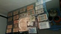 LOT OF 37  ANTIQUE BANK NOTES, PAPER CURRENCY, 1898 - 1936 RUSSIA, GERMANY, DNMK