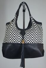 Big Buddha Black ChevronTan Zig Zag Cotton & Faux Leather Hobo Shoulder Bag NNT