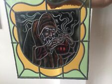 stained glass window panel  alchemist  alchimist hermit anaconda wizard antique