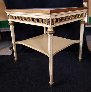 Vintage Italian Gordon's Cream/Gold Marble Top 2 Tier End Side Table
