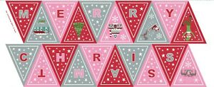 LEWIS & IRENE CHRISTMAS GLOW BUNTING PANEL PINK RED 45cms 100% COTTON