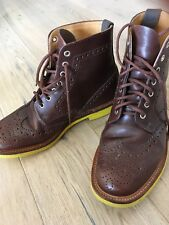 Men's MARK MCNAIRY Brown Wingtip Boots Yellow Contrast Soles Size 9.5 US