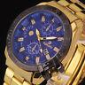ROMAND Herrenuhr Edelstahl Sport Quarzuhr mit Datum Armbanduhr Gold-blau