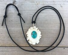 Deer Antler Burr Necklace Polished With Turquoise Inlay