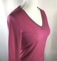 Banana Republic~Extra Fine Merino Wool~V Neck Sweater~Women's Size S~Fuchsia~