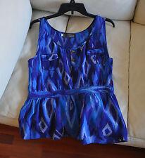 MYNE ASHLEY ANN Blue 100% Silk Sleeveless Blouse Sz 4 Made in US