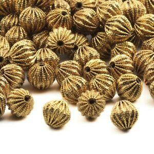 Lot (120) Vintage Czech brass metal ribbed hollow beads findings 9mm