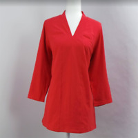 Denim & Co. Essentials Perfect Jersey V-Neck 3/4 Sleeve Top Red  - NEW