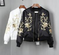 Women's Fashion Designer Satin Floral Embroidery Coat Bomber Jacket