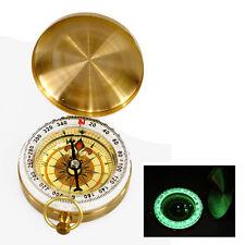 Outdoor Portable Brass Pocket Golden Compass Navigation Fluorescence Compass