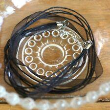 Cordon Ruban Organza Collier Pendentif  NOIR /perles  46/50 cm