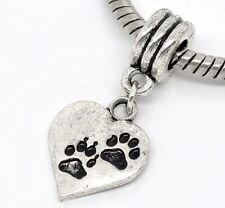 Silver tone Pendant Dog Paw Heart for European Charm Bracelet and Necklace. C149