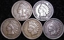"Indian Head Penny ""5"" Coin Lot 1905- 1906-1907-1908 & 1909 *FREE SHIPPING*  #422"