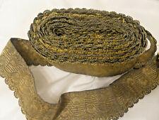 7m50 ruban galon passementerie fil métallique bronze doré XIXe ancien