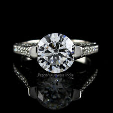 Halo Round Cut 925 Sterling Silver Near White Moissanite Engagement Ring Jewelry