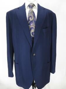Outstanding CESARE ATTOLINI hand-tailored 3r2 navy hopsack blazer 48 L Mint! H00