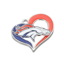 10pcs American NFL Football Denver Broncos Team Heart Dangle Charm DIY Bracelet