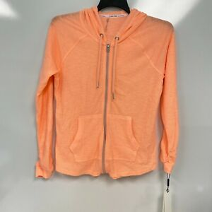 Calvin Klein Womens Fluorescent Peach Ruched-Sleeve Zip Front Hoodie Size M $59