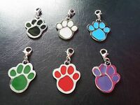 Pet Paw Print Collar Pendant - for Cats, Dogs, Animals (6 colours available)