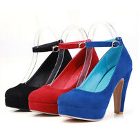 Womens High Heels Shoes Suede Ankle Strap Sexy Platform Pumps Party Prom Dress