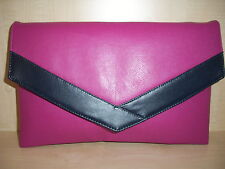 OVER SIZED NAVY BLUE & FUCHSIA Faux leather envelope clutch bag UK made.