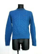 GEIGER Austria Tyrol Jumper Pure Wool Knitted braided Blue sweater Mens Sz 38 M