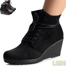 Ladies Ankle Boots Wedge Platform Heel Wedges Boots Lace Up