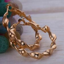 twist Spiral 9K Gold tone ring Hoop snap Earrings xmas party wedding Jewelry