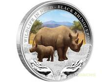 1 $Wildlife in need Tuvalu 2012 Rhinoceros rinoceronte pp onza plata Silver Proof