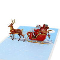 Printed 3D Christmas Tree Deer Greeting Card Element Pop Up Cards Merry Card