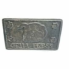 Home Town Cast Iron Grill Press Wood Handle Pig Flowers on Bottom