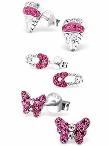 Set of 3 Pairs 925 Sterling Silver Kids Girls Lot Stud Earrings (Nickel Free)