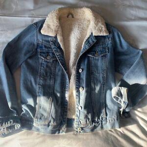 TOPSHOP MOTO Fleece Lined Denim Jacket Mid Wash Denim UK Size 8