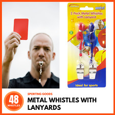 48 x METAL WHISTLE & LANYARD Referee Indoor Outdoor Sport Game Camping Emergency