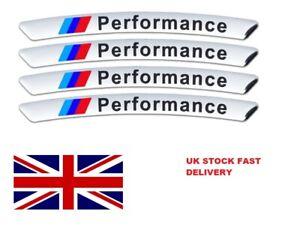 BMW M Performance Alloy Wheel Badges x4 Silver