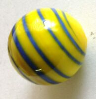 "Glass Marbles Game Shooters 1"" - 10 pcs Handmade Glass Yellow w/blue swirls"