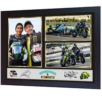 Lewis Hamilton Valentino Rossi signed poster photo print autographed F1 FRAMED