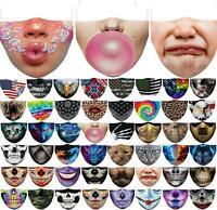 2021 3D-Druck Lustige wiederverwendbare Unisex Lustige waschbare Gesichtsmaske