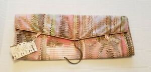 NOS NEW Vtg Saks Fifth Avenue Satin Pink Travel Multiple Compartment Bag RARE