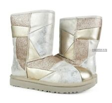 UGG Classic Short Glitter Patchwork Gold Leather Fur Boots Womens Size 10 *NIB*