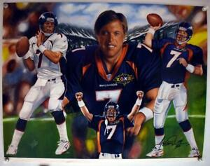 John Elway Denver Broncos 16x21 Anthony Douglas Signed Lithograph #114/500
