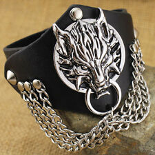 Fashion Gothic Mens Punk Rock Wolf Head PU Leather Cuff Bracelet Wristband New