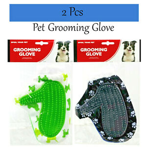 Pet Grooming Gloves 2 Pcs Dog Cat Wash Gloves Bath Massage Grooming Gloves Hair
