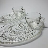 Vintage Homestead Glass Snack Set - 2 Plates and 2 Cups by Federal Glass (Q)