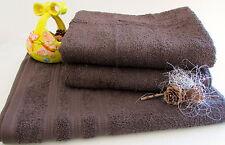 douche et serviettes Set 3 pièces marron chocolat ÉPONGE; 1x 70x140cm, 2x 50x100